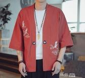 亞麻衫 亞麻短袖男夏季中國風潮流刺繡中式復古漢服唐裝寬鬆胖子棉麻外套  【雙十二免運】