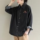純棉字母印花長袖牛仔襯衫 翻領單排扣牛仔上衣/2色-夢想家-0115