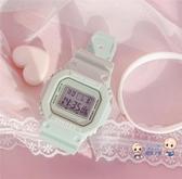 電子錶 獨角獸手錶運動防水女夜光鬧鐘兒童方形ins風原宿學院電子錶學生 5色