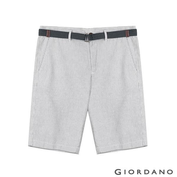 【GIORDANO】男裝附腰帶素色棉麻休閒五分褲- 95 灰白條紋