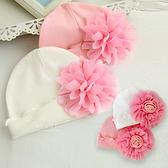 網紗大花棉感嬰兒帽 胎帽 童帽