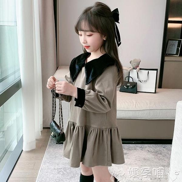 女童洋裝 女童絲絨加厚連身裙2021新款秋冬女孩加絨打底裙子韓版洋氣衛衣裙 嬡孕哺