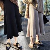 秋冬季新款韓版高腰裙針織毛線裙氣質百搭中長款顯瘦A字半身裙子
