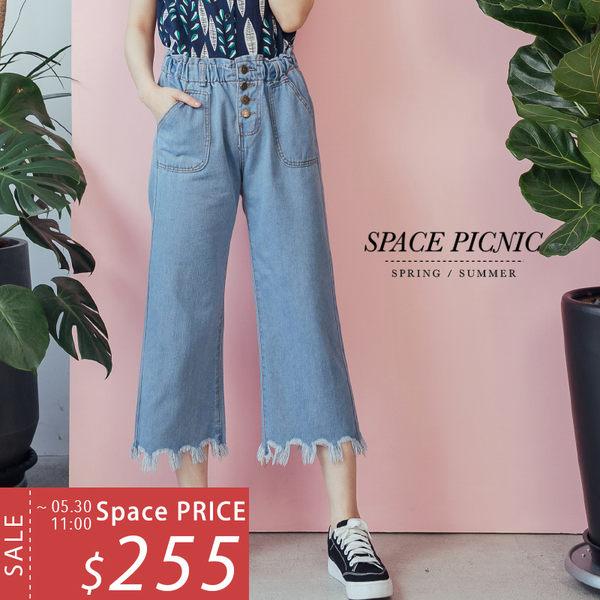 寬褲 Space Picnic|現+預.腰鬆緊排釦後口袋單寧寬褲【C18051115】
