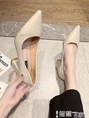 中跟鞋 2021年秋季新款韓版網紅粗跟單鞋尖頭淺口高跟鞋黑色上班鞋女鞋OL 智慧 618狂歡