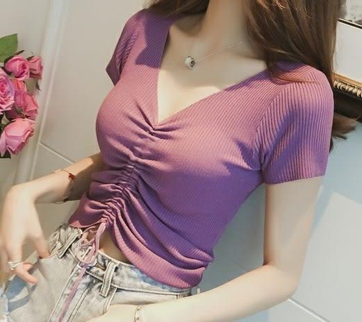 EASON SHOP(GU6436)中間抽繩設計露肚臍性感短款收腰V領短袖針織衫彈力貼身內搭衫女上衣服素色韓版