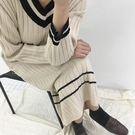 DE SHOP~(HL-566)V領長款針織連衣裙女過膝打底裙寬鬆套頭毛衣長裙洋裝