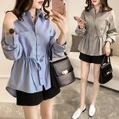 【藍色巴黎 】 韓版襯領開襟排釦腰抽繩寬鬆長袖襯衫 /上衣 《2色》【28945】