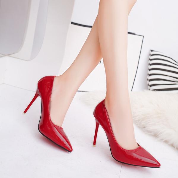 細跟鞋 新款韓版百搭高跟鞋尖頭淺口單鞋女性感黑色工作鞋女 - 古梵希