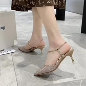鞋子女新款夏細跟法式少女女鞋壹字扣涼鞋時尚亮片尖頭高跟鞋 - 風尚3C