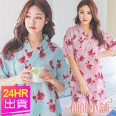 短袖睡衣 綠/粉 紅色金魚 日系浴衣風綁帶二件式睡衣睡褲 休閒居家服 仙仙小舖
