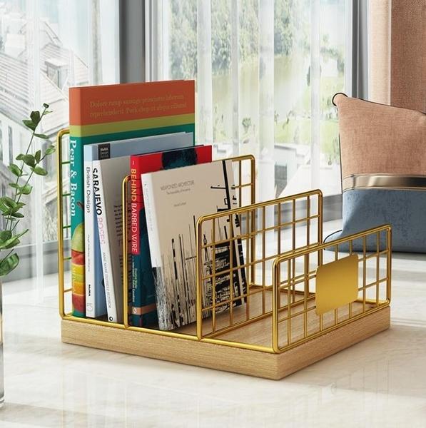 桌面書架小型收納置物架床頭桌上飄窗臺鐵藝辦公室文件整理小架子 嬡孕哺