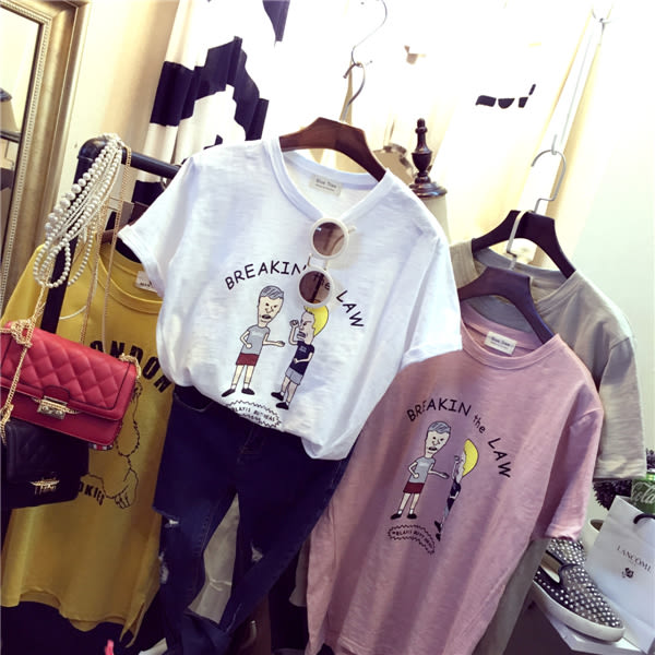 韓國寬鬆顯瘦簡約百搭大碼竹節棉短袖T恤 - T6906