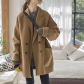 妮子大衣女2018新款韓版寬鬆雙排扣繭型毛呢外套冬女 熊熊物語