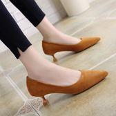 高跟鞋女細跟貓跟鞋 絨面尖頭職業工作3cm中低跟單鞋 晴天時尚館