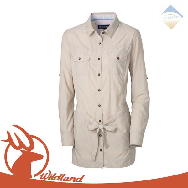 【Wildland 女 抗UV時尚長版襯衫《白卡其》】OA31211/排汗衣/涼感衣/防曬外套/吸濕排汗快乾/薄上衣