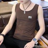 汗背心男士潮牌純色打底衫韓版修身帥氣時尚青年運動健身