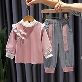 女童唐裝春秋寶寶漢服兒童中國風古裝周歲小孩秋裝長袖套裝民族女 幸福第一站