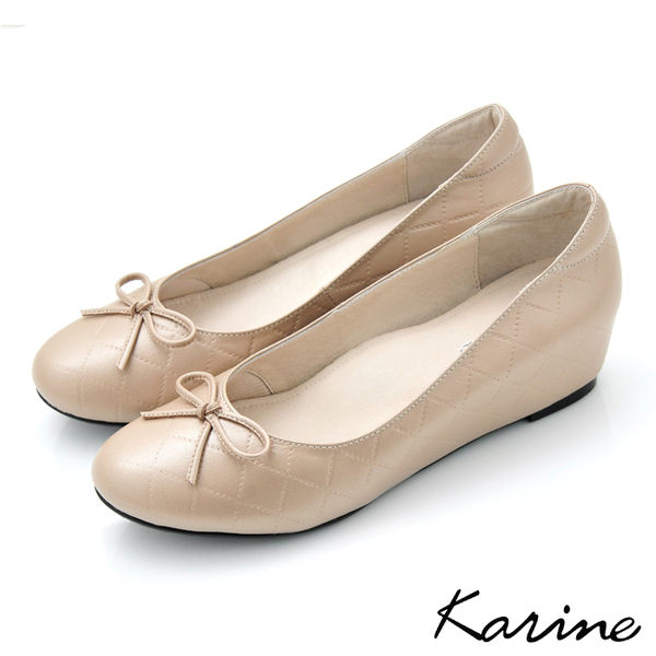全真皮格紋內增高楔型娃娃鞋-金莎‧MIT台灣製‧karine