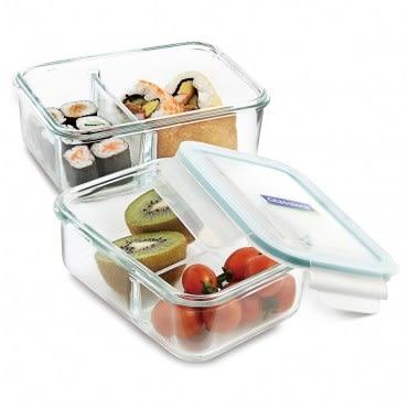 Glasslock強化玻璃微波分格保鮮盒670ml
