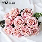 玫瑰花束仿真花絨布玫瑰花假花客廳餐桌裝飾花干花家居擺設 HH2198【極致男人】
