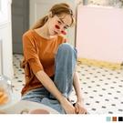 《AB15828》純色觸膚涼感含棉綁帶落肩短袖上衣 OrangeBear
