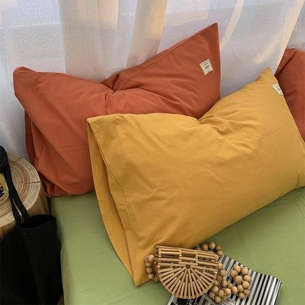 INS良品水洗棉枕套純棉純色全棉枕頭套兩只簡約48*74cm單人一對 設計師生活百貨