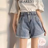 牛仔短褲女2021新款春夏季褲子網紅闊腿褲寬松直筒卷邊【大碼百分百】