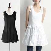 內搭襯裙 內搭純棉白色連身裙子針織女裝夏季背心吊帶襯裙衛衣打底裙邊下擺 秋季新品