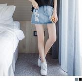 《CA726》高含棉街頭感大刷破牛仔短褲裙 OrangeBear