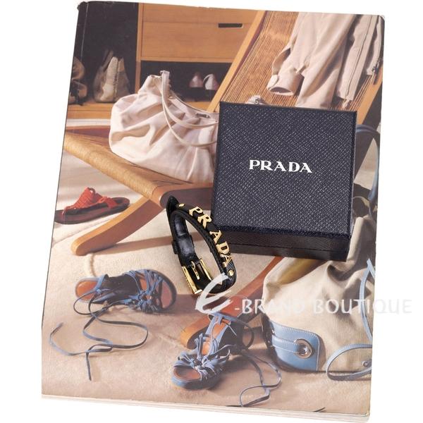 PRADA Saffiano Logo 金色字母防刮牛皮手環(黑色) 1840574-01
