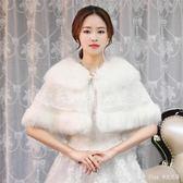 中大尺碼禮服披肩 婚紗毛披肩新娘外套旗袍蕾絲斗篷外搭 nm6871【pink中大尺碼】