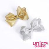 UNICO 兒童 歐美亮蔥立體蝴蝶結全包布髮夾-2入組