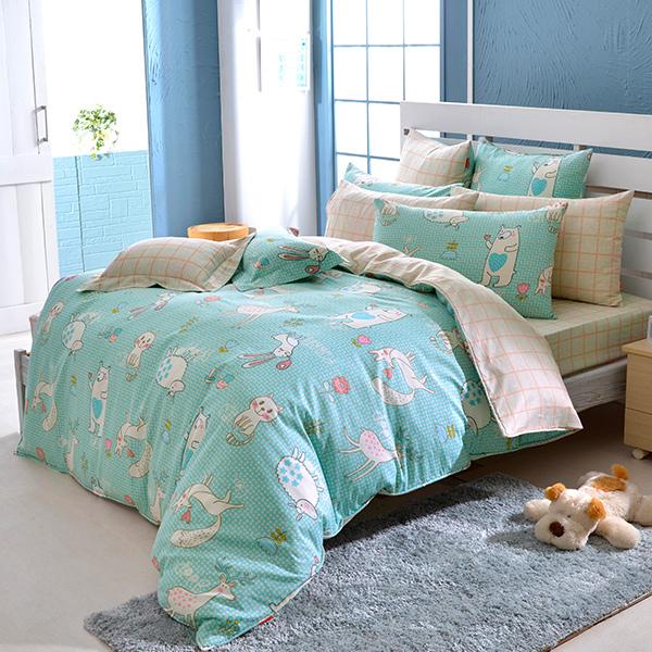 義大利Fancy Belle《甜蜜夥伴》雙人防蹣抗菌吸濕排汗兩用被床包組