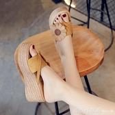 拖鞋女夏外穿時尚百搭網紅涼拖2020新款鬆糕厚底增高跟坡跟人字拖 618購物節
