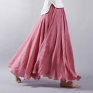 亞麻長裙 棉麻半身裙夏季中長款亞麻文藝仙女高腰a字大擺裙子長裙-Ballet朵朵