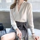 襯衫 2021春季新款韓版百搭V領長袖氣質顯瘦女雪紡襯衫春上衣 16育心