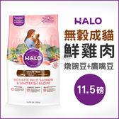 PetLand寵物樂園《HALO嘿囉》成貓燉食無穀低脂雞肉(燉豌豆+鷹嘴豆)11.5磅 / 貓飼料