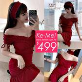 克妹Ke-Mei【ZT51706】時髦心機小性感性感鎖骨頸鍊深V美胸荷葉洋裝