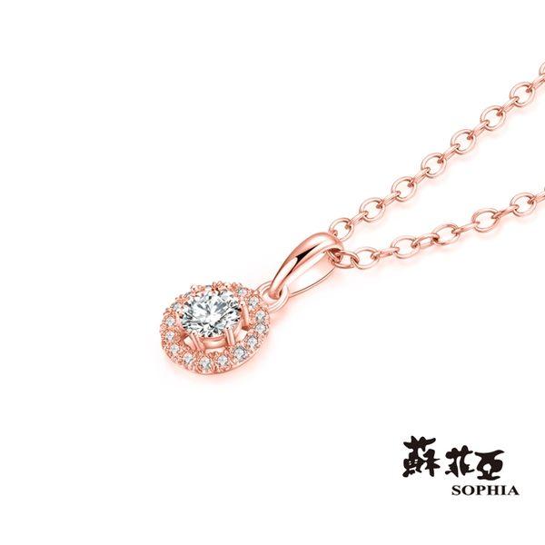 蘇菲亞 SOPHIA - 簡愛0.12克拉玫瑰金鑽石項鍊