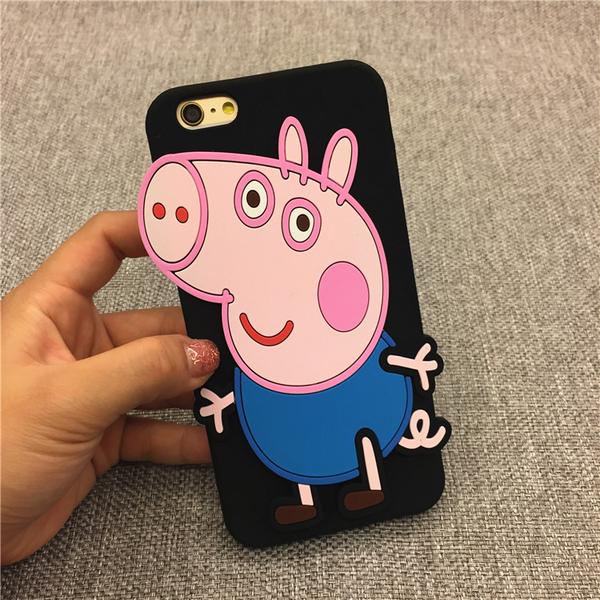88柑仔店--小豬佩奇iPhone8手機殼蘋果6S保護套7Plus卡通可愛防摔硅膠軟殼6P