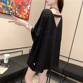 長款上衣 上衣女短袖大碼寬鬆中長款設計感露背心機上衣-Ballet朵朵