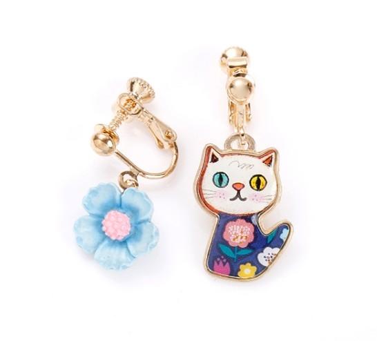 正韓呆貓與俏花夾式耳環
