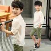 兒童襯衫男童短袖襯衫夏款 大童白襯衫襯衣短袖棉麻夏季薄款上衣   初見居家