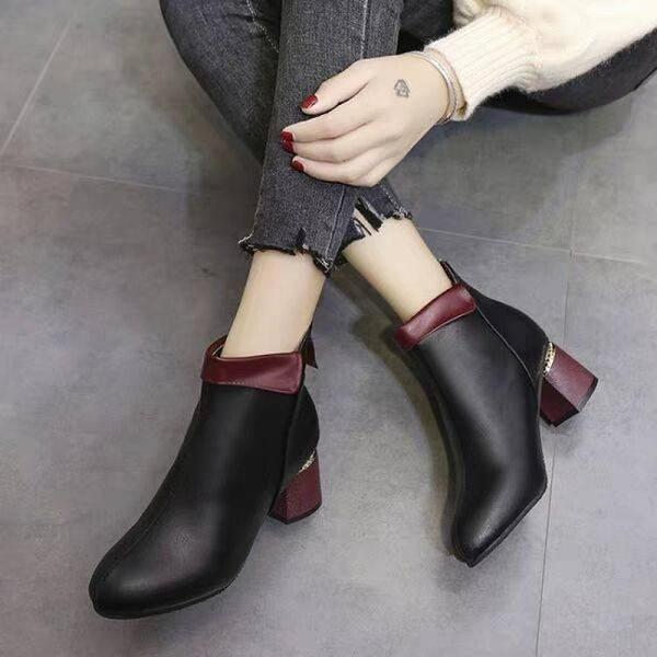 促銷九折 短靴女粗跟靴子中跟裸靴秋冬新款高跟女棉鞋馬丁靴加絨