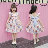 女童洋裝 中大童公主純棉韓版短袖夏裝女孩時尚娃娃領LJ10079『夢幻家居』