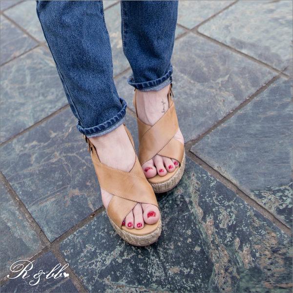 真皮涼鞋-R&BB手工羊皮製*簡約歐美隨性 復古交叉後勾帶高跟船台-杏棕色