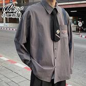 情侶襯衫 小雛菊領帶口袋字母長襯衫【NW670008】