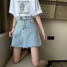 新款韓版藍色高腰a字包臀裙