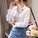 長袖襯衫 上衣 雪紡蕾絲領帶白色襯衫女長袖秋裝新款寬松V領時尚洋氣上衣雪紡襯衣潮T614 胖丫